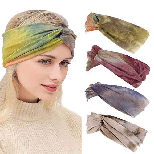 IYOU Turbante Boho Diademas cruzadas Elegante envoltura de cabeza de yoga impresa Bufanda anudada elástica de cabeza ancha para mujeres y niñas (paquete de 4)