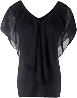 NMY Chaleco de Verano para Mujer de Chifón sin Mangas Casual Top con Cuello en V Camiseta