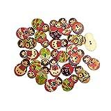 Botones 50pc Matryoshka diseño de madera botones vintage de madera accesorios de scrapbooking botones decorativos para artesanías Tapicería Botón de muebles ( Color : Cartoon sheep , Size : 100pcs )