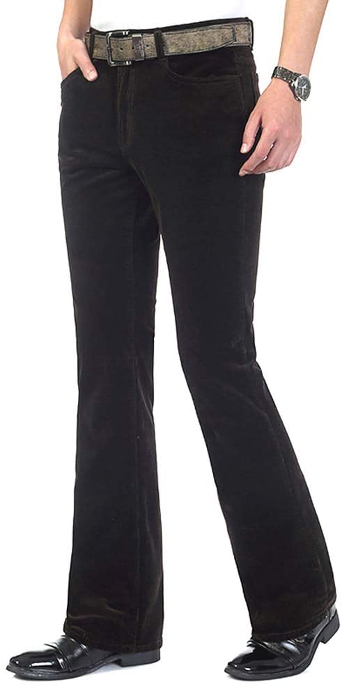 1970s Men's Clothes, Fashion, Outfits HAORUN Men Corduroy Bell Bottom Flares Pants Slim Fit 60s 70s Vintage Bootcut Trousers $36.99 AT vintagedancer.com