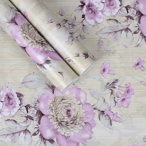 Taogift - Papel Pintado Decorativo Autoadhesivo de Vinilo para Muebles Florales Vintage, para estantes de Cocina, estantes, cajones, tocador, Paredes, Morado