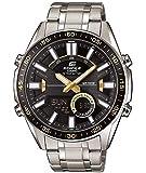Casio EDIFICE Reloj en caja sólida, 10 BAR, Negro/Amarillo, para Hombre, con Correa de Acero inoxidable, EFV-C100D-1BVEF