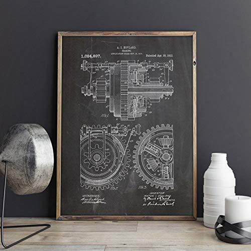 GUDOJK Pintura Decorativa Metal Gears Mechanical Gearing Artwork Wall Art Prints Posters...