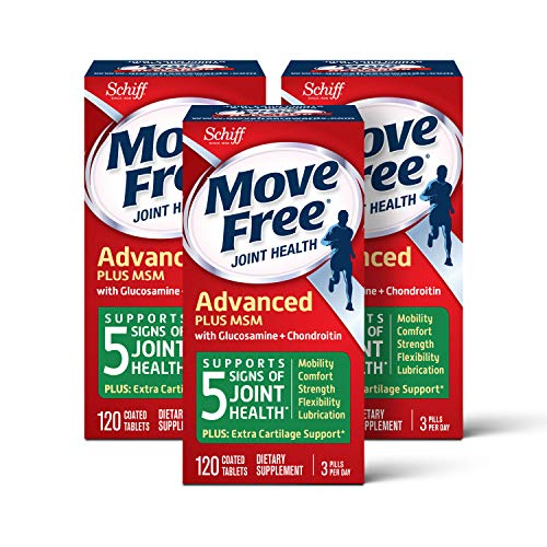 Move Free Glucosamine and chondroitin and msm Joint Health Tablets, move free (120 Count in a Bottle), Pack of 3, 360 Count