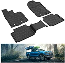 KIWI MASTER Floor Mats Compatible for 2019-2021 Ford Ranger SuperCab All Weather Mat Liners Front Rear 2 Row Seat TPE Slush Liner Black KB3Z-2113300-AA