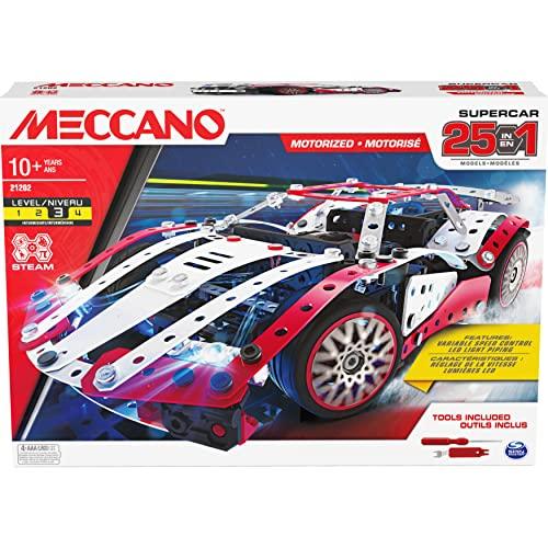 MECCANO 6062054 MEC 25 Multi Model Set CN GML, 25-in-1 Motorisiertes Supercar STEM Modellbausatz mit 347 Teilen, echte Werkzeuge und funktionierende Lichter, Kinderspielzeug ab 10 Jahren