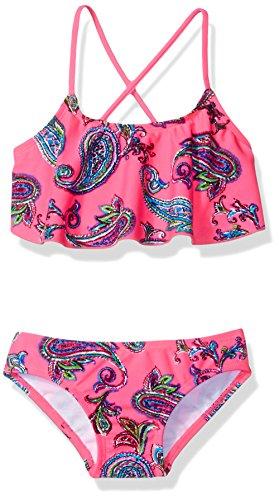 Kanu Surf Girls' Big Alania Flounce Bikini Beach Sport 2 Piece Swimsuit, Heather Pink Paisley, 14