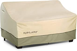 KylinLucky 2-Seater Deep Lounge Sofa Outdoor Furniture Cover - Windproof Design Fits up to 59 x 41 x 30 inches (Small)