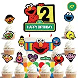 2nd Elmo Cake Topper Cupcake Toppers Set, Happy Birthday Cake Toppers, Cake Decorations
