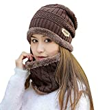 HINDAWI Womens Beanie Winter Hat Scarf Set Slouchy Warm Snow Knit Skull Cap Brown