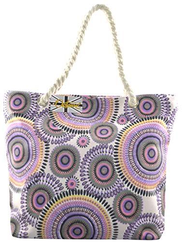 OCTAVE® Ladies Summer Beach Tote Handbags Collection - Circles Design -...