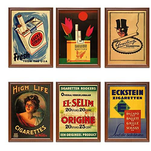 Sigarette Vintage Annunci di Tabacco Poster Lucky Strike Poster Classici Dipinti su Tela Stampa Parete Decorazioni per la casa Regalo-40x50x6pcscm Senza Cornice