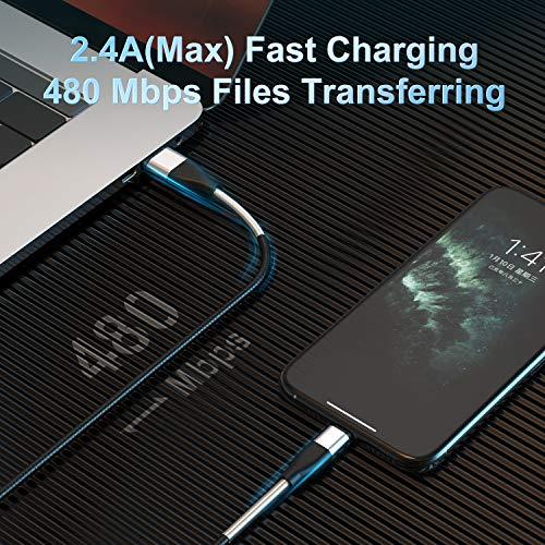 [ MFi Certified ] 2Pack 2M iPhone Ladekabel, CABEPOW Fortgeschritten 6ft Frühling Lightning Kabel Lang, Schnellladung USB Ladekabel für iPhone 11/XS/XSMax/XR/X/8/8 Plus/7/7Plus/ 6s/6/6Plus/5S/5, iPad.