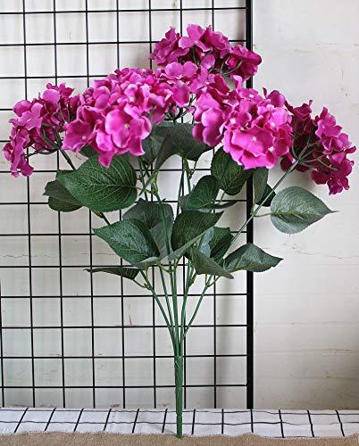 MEITAO Kunstbloem, 7 bloemkoppen van hortensia, grote kunstzijde, bloemen voor bruiloft, hortensia op Paars.