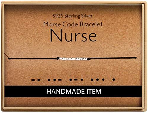 for Nurse Morse Code Nurse Bracelet 925 Sterling Silver Handmade Bead Adjustable String Bracelets Nurses Day Jewelry for Women