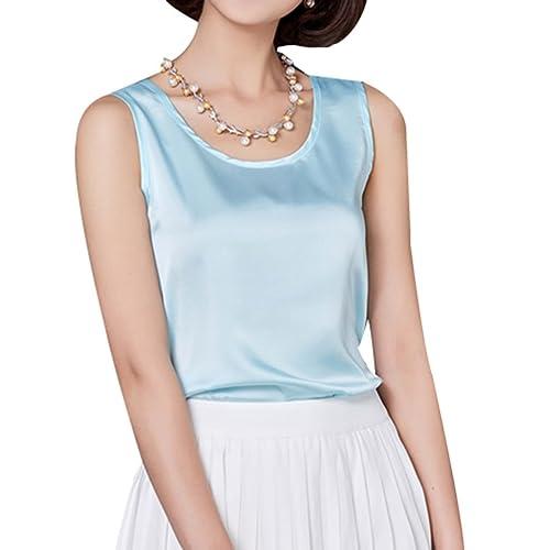 05bc537fea64d Yasong Women Girls Silk Feel Plain Sleeveless Shirt Vest Top