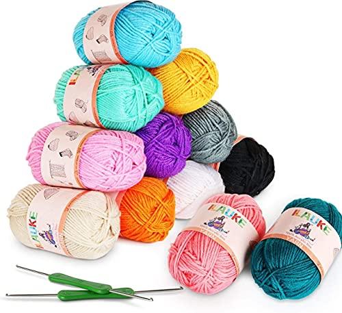 12x50g Fils à Tricoter en Acrylique Multicolores avec 2 Crochets pour Crochet de Fil à Tricoter