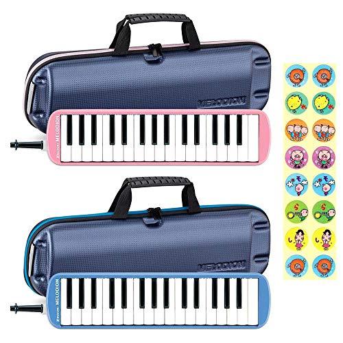 【3台セット】【ドレミシール付】SUZUKI スズキ FA-32B メロディオン 32鍵 鍵盤ハーモニカ / ブルー3台