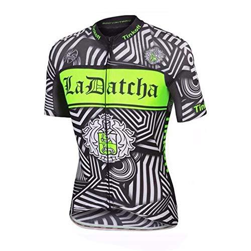 TOPBIKEB fietsshirt met korte mouwen voor heren, ademend met reflecterende strepen voor MTB