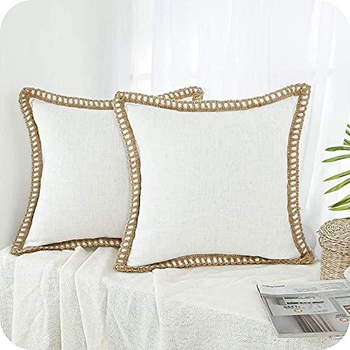Topfinel 2 Juegos Funda de Cojín de Decoración Vintage Rota Natural Blanco de Lino Almohada para Silla Oficina Sofá Domicilio Jardín 40x40cm