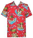 Camisa hawaiana para hombre Navidad Santa Claus Party Aloha Holiday Beach - rojo - Large