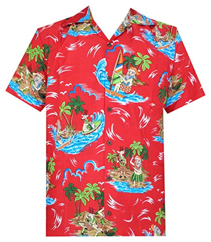 Hawaiian Shirts 49 Mens Reindeer Santa Beach Aloha Casual Holiday Red L