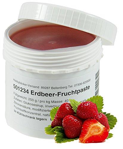 Hobbybäcker Erdbeer-Fruchtpaste ► Zum Verfeinern von Eis, Pralinen, Desserts & Tortencremes, Natürlich-Fruchtig, 250g