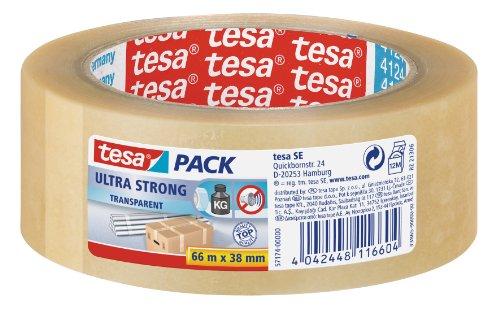 tesapack Ultra Strong - PVC-Klebebänder für festes Verpacken und sicheres Bündeln - Transparent - 66 m x 38 mm