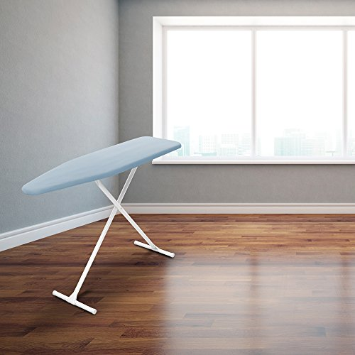Homz T-Leg Steel Top Ironing Board with Foam Pad, Sky Blue Cover