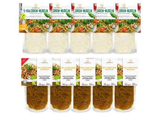 10er Packung | 5-Kalorien & Curcuma Nudeln | Algen Nudeln | Glutenfrei & Vegan | Low Carb | Schultz und König
