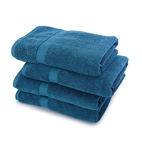 "Villa Celestia 100% Cotton Bath Towel, 700GSM Pack of 4, Ultra Soft Large Bath Towel-Luxury Blue Highly Absorbent Bath Towel, Ideal for Daily Use Home Gym Spa Hotel-Bathroom Towel Set -27""x54"""