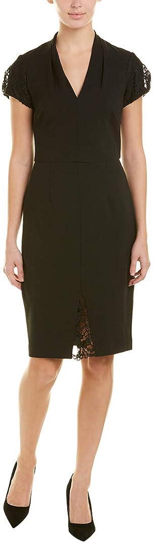 Betsey Johnson Women's Plus Size Scuba Crepe Midi Dress with Lace Detail