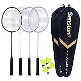 Senston Badminton Rackets 4 Pack, Badminton Set Including 2 Badminton Bag/4 Rackets/4 Nylon Badminton Black White Pink Purple