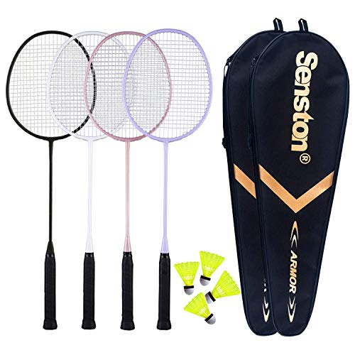 Senston Badmintonschläger 4er Pack Badminton-Set inkl. 2 Badminton-Tasche/4 Schläger/4 Nylon Badminton Schwarz Weiß Rosa Lila