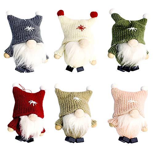Ornamenti per Alberi di Natale in Peluche,6 pezzi Ornamento d'attaccatura per decorazioni Gnome Tomte svedese Albero di natale Statuetta Ornamenti natalizi Natale di Babbo per albero di Natale
