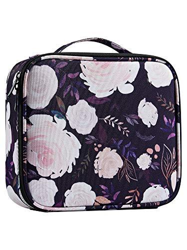 JOLIGRACE Estuche de maquillaje portátil tamaño viaje bolsa de cosméticos organizador con bolsillos para cepillo y separadores extraíbles para artista de maquillaje (flores blancas)