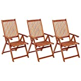 Tidyard 3 Piece Folding Garden Chair Set Acacia Wood Backrest Adjustable Recliner Wooden Chaise Lounge Chair for Garden, Patio, Yard, Poolside Outdoor Furniture 22.4 x 27.2 x 43.7 Inches (W x D x H)