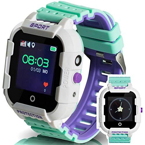 Calmean - Reloj inteligente digital deportivo para niños con GPS, WiFi y LBS rastreador con aplicación para iOS y Android, resistente al agua IP67, con cronómetro y cámara fotográfica (color blanco)