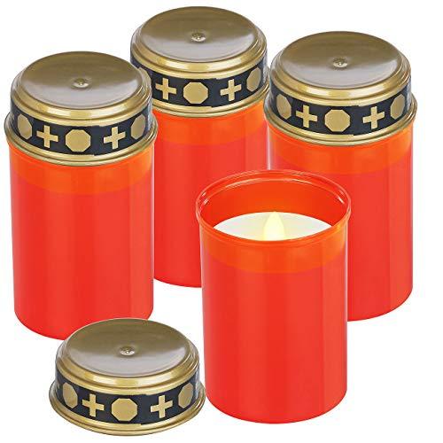 PEARL Grabkerzen: 4er-Set flackernde Grablicht-LED-Kerzen, Batteriebetrieb, 12 cm hoch (Grableuchten)