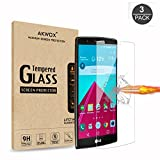 (Pack of 3) Compatible with for LG G4 Tempered Glass Screen Protector, Akwox 0.3mm High Definition Clear 2.5D Rounded Edge Screen Protector Film For LG G4 LGG4 - Max Clarity And Touch Accuracy Protector