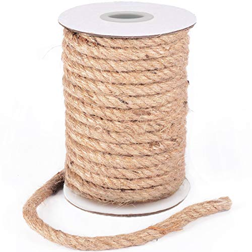 HOMYHOME Jute Rope Natural Jute Burlap Twine 10mm 597inch String Hessian Rope Cord Craft for Industrial, Packaging, Crafts, Cat Scratching Post, Decoration, Bundling, Gardening, Home Improve