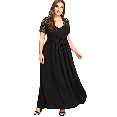 a0844dd470a GMHO Women s Plus Size Lace V Neck Short Sleeve Fit and Flare Bridesmaid  Formal Maxi Dress