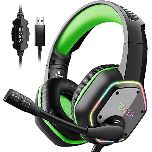 EKSA 7.1 USB Gaming Headset - Surround Stereo Sound - PS4 Headphones with Noise Canceling Mic & RGB Light Over Ear Headphones, Compatible with PC, PS4 Console, Laptop (Green)