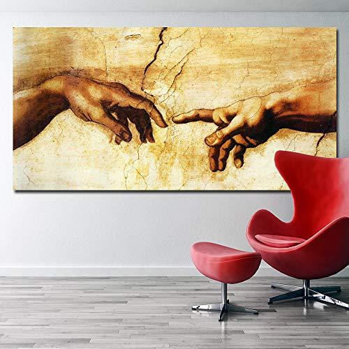 Suuyar Anvas Pintura Creación de Adán!¡Mano de Dios!Cuadros de la Pared de la religión clásica para la Sala de Estar Famoso Lámina Posters60x120cm sin Marco