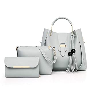 Fashion Retro Women's Handbag PU (Polyurethane) Bag Set 3 Piece Wallet Set Solid Color Pink/Green/Brown/Bag Set (Color : Green)