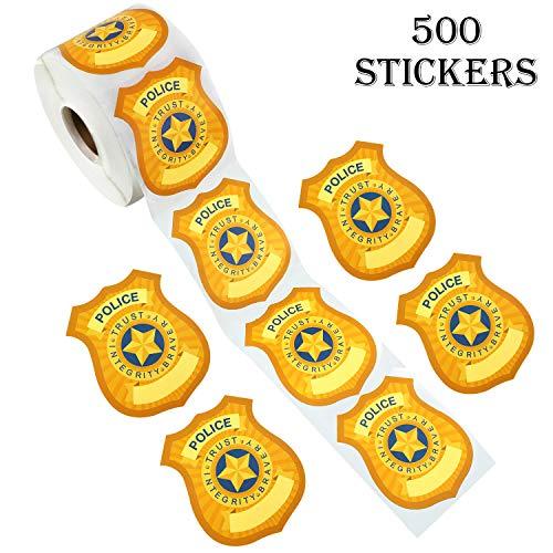 Outus 500 Stück Abzeichen Namensschild Aufkleber Polizei Abzeichen Aufkleber Selbstklebende Aufkleber für Schulbildung Party Bedarf