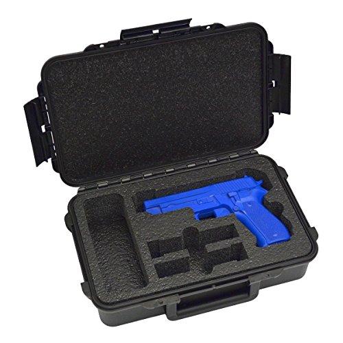 1 Pistol 2 Magazine + Accessory Medium Duty Lightweight Waterproof Single Gun Sport Case - Doro Cases with Custom Mycasebuilder Foam Insert