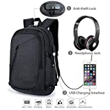 Laptop Backpack, with USB Charging Port and Headphone slot, in addition to Built-in Code Lock Compartment, Water Resistant Computer or book bag Fits Up to 15.6 Inch Laptop for Teenager, Men or Women