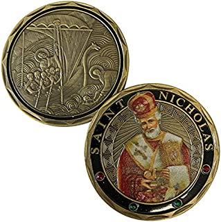 Aizics Mint ST. Nicholas - Patron Saint of Sailors, Merchants - Wonderworker - Commemorative Challenge Coin. Cast with Colorized Saint and Iron Plating & Ancient Bronze Original one-of-a-Kind Design.