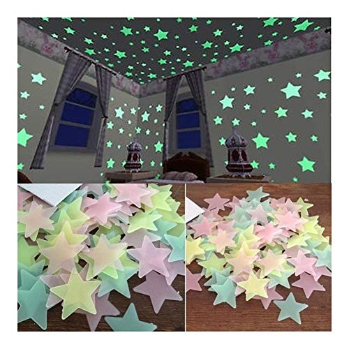 100 stks/set Nacht Lichtgevende Sterren Sticker Glow The Dark Toys Kind van Licht Stickers voor Kids Slaapkamer Decor Xmas Verjaardagscadeaus Geel